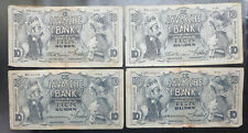 4 Netherlands East Indies 10 Gulden Java Bank notes 1933 1934 1938, Dutch colony