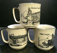Vintage Set of (3) AM&A Buffalo, NY Souvenir Mugs (Peace Bridge, Armory, Music)
