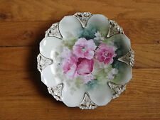 "RS Prussia 8 1/2"" Scallop-Edged Plate-Lt Green-Pink Flowers-8 Gold & White Areas"