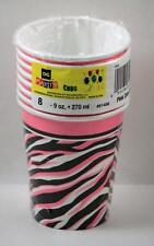 Cups 9 Ounce Zebra Print Party Pink Black All Occasion  8 Cups