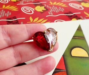 Small Vintage Heart Brooch Signed Monet Cut Glass Pink and Dark Red
