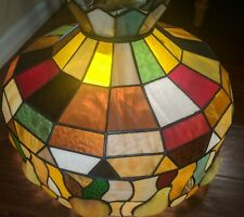"""Tiffany Style Hanging Chandelier Large Stained Glass Lamp 20"""" Diameter Fruit"""