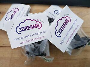 4er Set Haken Halter passend für Kitchen Aid ® in schwarz Zubehör Knethaken