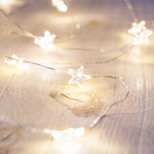 40 Micro Warm White LED Star Battery Operated Silver Wire Christmas Fairy Lights
