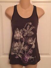S Womens BILLABONG Gray Graphic Tank Top Shirt Juniors Flowers Butterfly Surf