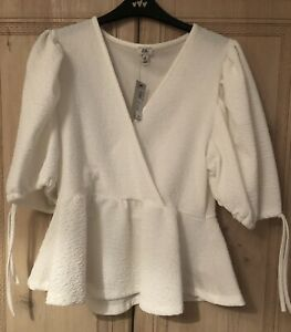 Brand New River Island White Puff Sleeve Top UK12 In Store Now Rrp £26