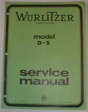 Wurlitzer Model D-5 D5 Preliminary Organ Service Repair Manual Schematics