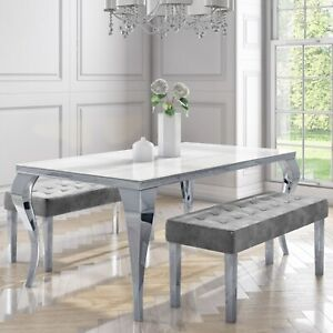 Jade Boutique Mirrored Dining Table with 2 Grey Velvet Dining B BUN/ANE003/77687