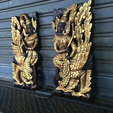"""17""""x8""""  Pair of Angels Teak Wood Carved Handcraft Wall Decor Art Collectible"""