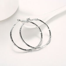 Wholesale 18k White Gold Filled Pattern High Polished Big Circle Hoop Earrings G