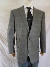 CHESTER BARRIE gray plaid wool cashmere dual vent slim blazer jacket 44R NEW