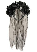 Black Veil With Flowers Ladies Fancy Dress Halloween Wedding Dead Bride Headband