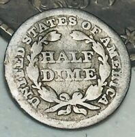 1854 Seated Liberty Half Dime 5C Arrows Worn Date Good US Silver Coin CC2453