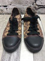 Women's HARAJUKU LOVERS SNEAKERS sz 7 Low Top  ~ Canvas Brown Print Hearts Shoes