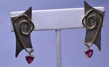 DESIGNS BY CC MODERN ART STERLING SILVER & 14K GOLD TOURMALINE PIERCED EARRINGS
