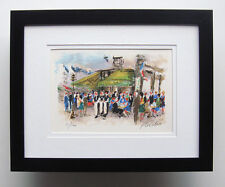 HUCHET Original Color Lithograph Cafe Les Deux Magots France S/N Framed COA