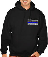 Men's Thin Blue Line USA Police Flag Black Hoodie Sweater Military Army American