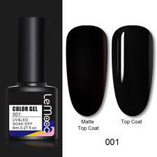 80 Colors LEMOOC Glitter UV Gel Nail Polish Matte Top Base Coat UV LED Lamp Pink