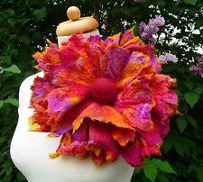 Nuno Feutre fleur, écharpe épingle, corsage, laine, soie, Lagenlook, handmade