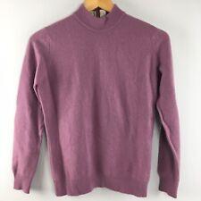 "Vtg Jaeger 100% Cashmere Sweater 36"" Purple Mock Turtleneck Great Britain"