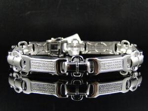 Mens Pave White Gold Finish Round Cut Genuine Diamond Bracelet 1.0 Ct 8 In