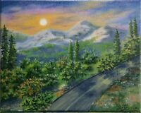 "Art 10""/8"" oil painting,sunset, mountains, landscape, mountains view , nature"