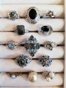 AWESOME Vintage Mod Ring LOT Sterling Vargas 18khge Uncas 925 SETA+