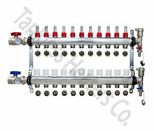 """11-Branch PEX Radiant Floor Heating Manifold Stainless w/ 1/2"""" Connectors"""