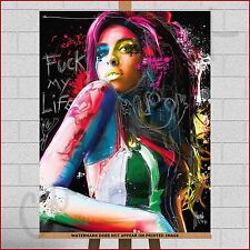 Amy Winehouse Large Framed Box Canvas Print Picture Paint Splash Quote Wall Art