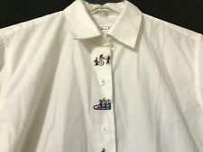 TALBOTS Women's White Christmas Embroidered Button Shirt Size SMALL