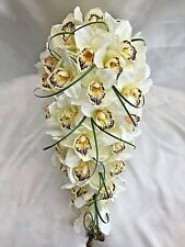 BRIDES TEARDROP BOUQUET, CREAM ORCHIDS, ARTIFICIAL WEDDING FLOWERS
