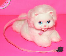 """Plush Playmates AMAZING ALLY 5"""" White Kitty with Pink Leash Stuffed Toy  2001"""