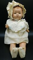 "Antique 20"" Sleepy Eye Doll + Baby Clothes"