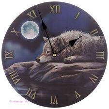 Wanduhr Bilderuhr Uhr Bild Deko Ruhige Nacht des Wolfes bei Vollmond Mond