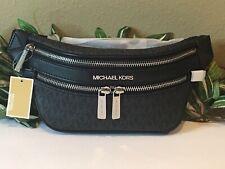 MICHAEL KORS KENLY SMALL WAIST FANNY PACK XBODY BLACK MK SIGNATURE BELT BAG $298