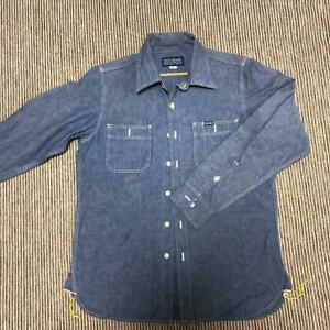 IRON HEART Work Shirt Heavy Chambray Indigo Blue Size S Excellent Condition Mens