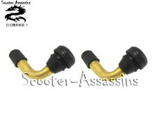 2x SNAP IN TYRE VALVE 90 DEGREE BRASS MOTORCYCLE SCOOTER QUAD