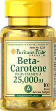 Puritans Pride Premium Beta-carotene 25,000iu X100 Softgels Pro Vitamin A New