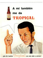"""045.Cuban Quality Design poster""""Give me a TROPICAL beer also""""retro Interior home"""