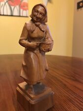 Vintage Anri Wood Carved Lady With Chicken In A Basket
