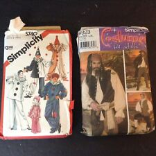 Lot of 2 Simplicity Adult Costume Patterns Childs Clown & Adult Pirate