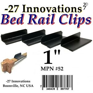 4 CLIPS Antique Flat Top Rail Iron Bed-Box Spring/Mattress CONVERSION KIT 1""