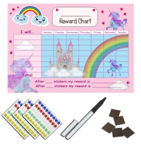 Girls  Unicorn Behaviour Reward Chart, Star Stickers & Pen MAGNETIC