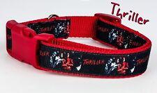 "Thriller Michael dog collar Handmade adjustable buckle collar 1"" wide or leash"