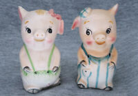Vintage Pigs Ceramic Bisque Salt And Pepper Shakers Made by Marco in Japan
