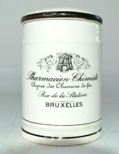 Vintage French Toothbrush Holder Cup - Bruxelles - White with Black Stripes