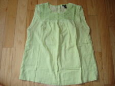 Womens J. CREW Lime Green Eyelet Embroidered Windowpane Top ~ Size 10