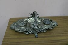 "Antique Vintage Ornate gilded Iron Double Inkwell Inkstand Tray Basket 5"" x 14"""
