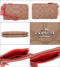 COACH F87591 COATEDCANVAS DOUBLE CORNER ZIP CARD COIN PHONE CASE WRISTLET WALLET
