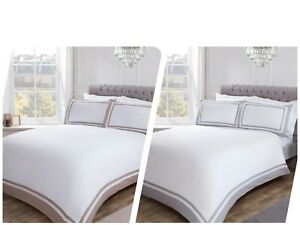 100% Cotton Hotel Collection with Contrast Border Duvet Cover & Pillowcase Set